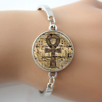 ankh symbol - Egyptian Ankh Eternal Life Symbol Glass Dome Jewelry Bracelets Bangle Plated antique silver Charm Rhodium Circle New Bangle