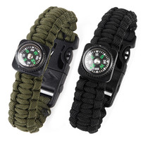 Wholesale Paracord Rope Survival Bracelet with Gear Scraper Compass Flint Fire Starter Whistle
