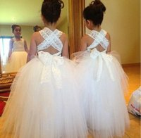 Wholesale Lace Flower Girls Dresses Cheap Custom Made Tulle Bandage Criss cross Back Long Length Sweetheart Little White Dress Pageant Gowns