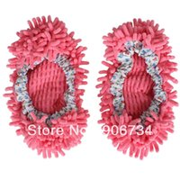 Wholesale Mop Slippers Cleaning Pink Style Foot Shoes Floor Polishing Cover Cleaner Dusting