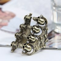 Wholesale Fashion Women Band Rings Vintage Ladies Girls Punk Style Skull Shape Jewelry Finger Rings GRF