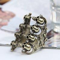 Wholesale Fashion Women Band Rings Vintage Ladies Girls Punk Style Skull Shape Jewelry Finger Rings GRF