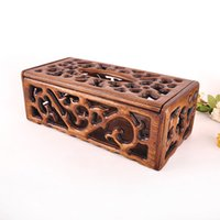 Wholesale Southeast Asia home European retro luxury wood tissue box tray pumping creative paper towels barrels of high grade green wood carving