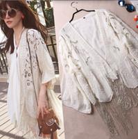 beaded fringe shirt - 2015 Fashion Women Silk Blouse Ladies Elegant Sleeve Embroidered Sequined Beaded Long Tassel Fringe Kimono Cardigan Cape Shirt