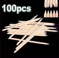Wholesale 100Pcs Orange Wood Sticks Nail Art Care Salon Cuticle Pusher Remover Manicure Tool A3A5