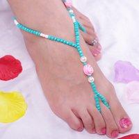 aqua roses - Joker beach Pearl roses Handmade beaded anklets F022BG110 b6xr