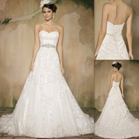 Wholesale Gorgeous Lace Wedding Dresses White Sweetheart Beaded Sash Sweep Train Bandage2015 Bridal Gowns De Novia Custom Made Bride Dress Canada