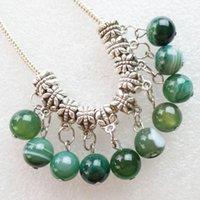 Envío de la manera intrigante mayor talló la plata de Tíbet de la pulsera del grano verde ágata del Onyx pendiente redondo y accesorios collar