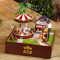 amusement park lights - Miniature Amusement Park Model DIY kit With Light Summer Version Carousel doll