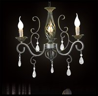 Wholesale Rustic Iron Crystal Chandelier Black Candelabra Vintage Antique Art Deco Sconce Pendant Lamp clea lustre pendant lights modern