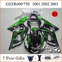 Wholesale GSX R GSXR GSXR750 Motorbike Fairing Kit Fit SUZUKI Year Green Line Black Motorbike Bodywork Cowling
