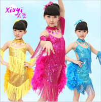Wholesale New Latin dance sequin costumes ballet tutus tassel dress stage wear costume clothes feather dance top clothing zlj001