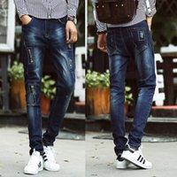 american male models - Korean Models Men Slim Straight Jeans New Men s Hole Jeans Male Harem Teenagers Elastic Feet Long Pants