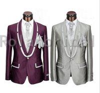 vest tops for men - Hot Sale Top Mens Fashion Wedding Blazers wool Suit Costumes For Men Dress High Quality one buttons Suit jacket pants vest tie kerchief