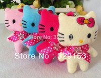 bear hello - Hot sale H cm mix color lovely Mini doll kitty cat HELLO KITTY plush toy cell phone