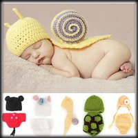 Cheap by DHL or EMS 30 pieces Brand New Baby Crochet Clothes Bunny Hat Outfit Newborn Costume 5 styles