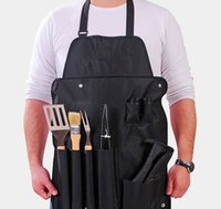 bbq apron set - Tools Stainless Steel BBQ Set Apron Fork Glove Knives Tongs Tool knife Set BBQ Cooking Turners