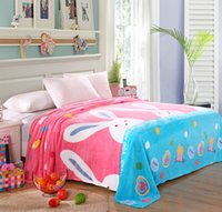 Wholesale Cartoon Bunny Rabbit Printed Plush Fleece Blanket Flannel for Bed Sofa Couch Throw Child Girl Single Twin Full Queen Size Pink
