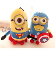 Wholesale New minion quot cm cm Despicable ME Movie Plush Toy minions Superman Captain America Minions Plush Toys D eyes