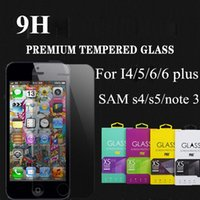 Wholesale For Iphone iphone plus Tempered Glass Screen Protector for iPhone s c s samsung galaxy S5 note with Retail box