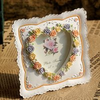 ba photo - The New Colorful Rose Heart shaped Pattern Bas Relief Style Resin Photo Resin Decoration