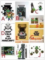 Fabric Back Vinyl Wallpapers fabric for kids - 200pcs kinds Minecraft through Wall Stickers Creeper Decorative Steve Dig Wall Decal Cartoon Wallpaper Kids Party Decoration Wall