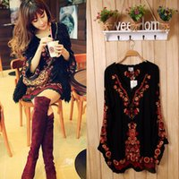gypsy dresses - New brand ethnic Women s Long Sleeve Embroidered Floral Boho Top Tunic Mexican Gypsy Mini dress
