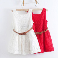 Wholesale 2015 Summer Lace Vest Girls Dress Baby Girl Princess Dress Years Chlidren Clothes Kids Party Clothing For Girls Free Belt