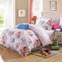 beauty textile - Peony blossom beauty bed duvet cover floret lace flat sheet or pieces cotton twin comforter bedding sets bed in a bag home textile
