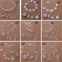 apple engagement ring - Fashion New Sterling Silver Jewelry Sets Starfish Apple Flower Heart Bracelet Necklace Earring Ring Jewelry Sets Bridal Jewelry Sets