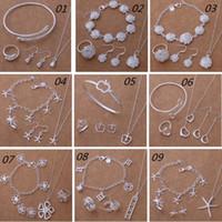 Mode New Argent 925 Parures Bijoux Starfish d'Apple fleur de coeur Bracelet Collier Boucle d'oreille Bague Sets de mariée Parures