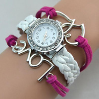 Wholesale Infinity Watches Weave Bracelet Watches Lady Wrap Watches Love Double Heart Leather Wrist Watches Mix Style
