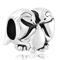 beads and charms - Retail and Silver Color Rhodium Plating Lovely Penguin Family Bead European Charm Fit Pandora Bracelet