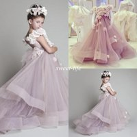 Cheap Cutely Krikor Jabotian Children Wedding Dress For Girls 2015 Crew Ball Gowns Handmade Flowers Long Pageant Dresses Girls Kids Birthday Dress