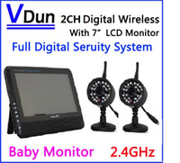 baby monitoring systems - 2 G CH QUAD DVR Security CCTV Camera System Digital Wireless Kit Baby Monitor quot TFT LCD Monitor Cameras VD C