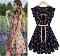 women dress drop ship - 2015 New Arrivals Women s Clothing Sweet Chiffon Dress Shirt Cusual Dress Sleeveless Dress for Girl Drop shipping