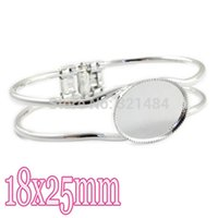Wholesale Silver plated x25mm Oval cabochon setting Jewelry Bangle Cuff Bracelet Base Blank Tray Bezel