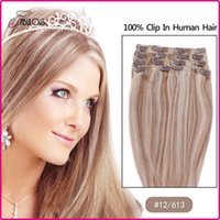 Wholesale 15 inch Clip in Hair Extensions Brazilian Human Hair Full Head Set Color Human Hair extensions Straight Freeshipping g set