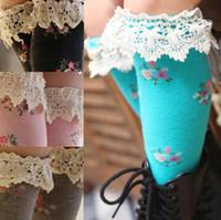 Wholesale girls tube socks knee highs lace Leggings baby girls Long socks Floral lace stockings cotton children s socks cm color