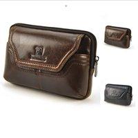 belt loop purse - Men Genuine Leather Fanny Belt Loop Bag Retro Waist Pack Cellphone Mobile Case Classic Presbyopic Glasses Plus Purse W41