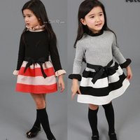 western clothing - Fashion NWT Western style clothes Child Girls Dress Striped Pattern Cotton Ribbon Belt Splicing Kids Girl Dresses Red Black White A1435