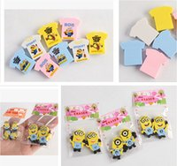 Wholesale 3 Styles Erasers Sets Study Stationary Cartoon Erasers Figure Eraser For Kids Despicable Me Office School Supplies