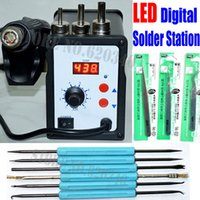 Cheap Free shipping 700W 858D ESD Soldering Station LED Digital Solder Iron desoldering station BGA Rework Solder Station Hot Air Gun