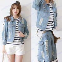 Cheap Street Style Denim Jackets Women Ripped Hole Design Washed Short Brand Tops Fashion Navy Blue Turn-down Collar Pockets Coats