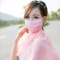 Wholesale 8 free shopping sunscreen anti uv cape face mask ultralarge breathable chiffon neck elastic mask