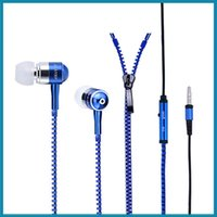 Wholesale zipper earphone with mm round head and microphone Control Talk Metal Earphones for cell phone vs hbs DHL free shippin