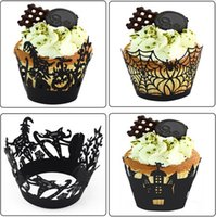 Wholesale 36Pcs Halloween Spiderweb Witch Castle Cupcake Wrappers Laser Cut Liners Party Cake Decoration Product Supply