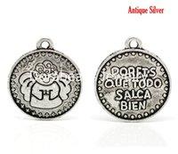 bien spanish - Antique Silver quot porfis que todo salga bien quot Spanish Boy Angle Charm Pendants x19mm B17273