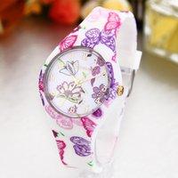 Wholesale GENEVA Geneva hot fashion pastoral pattern silicone watch stamp Ladies Watch
