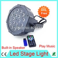 auto power buildings - MP3 W Led Stage Light High Power RGB Par Light With DMX512 Built in Speaker Play Music U Disk Remte Controller